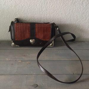 Rare Brighton brown croc crossbody wallet /clutch